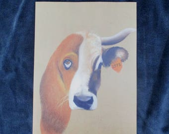 VEGAN ART - PRINT - half cow half dog A4 21x29,7cm