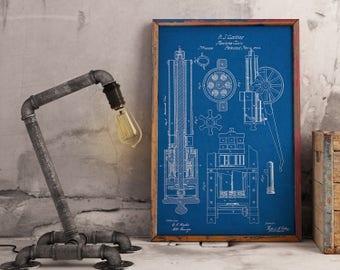 Blueprint Wall Art gun wall art | etsy
