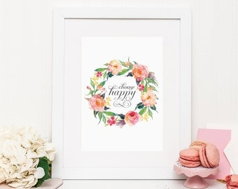 Pink Floral Wall Decor, Printable, Art Print, Choose Happy