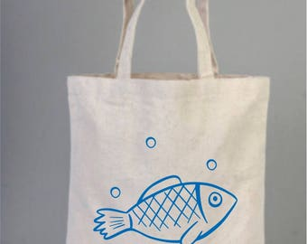 Blue Fish, Fish Bag, Wedding Welcome Tote Bag, Bridesmaid gifts, Wedding Favors,  Bridal Shower, Cotton Bag, Beach Party Bags, Daily Tote