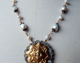 Antique Assemblage Necklace with Freshwater Pearls, Paste Stones & French Stamping