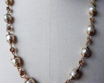 Vintage Dimple Baroque Faux Pearls Gold Tone Necklace and a Gold Tone Pearl Bracelet