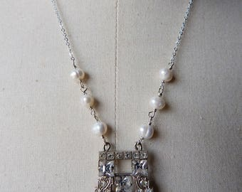 Art Deco Repurposed Assemblage Necklace with Sterling Silver and Freshwater Pearls