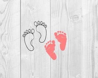 Baby Feet SVG file- DXF PNG included - design for cricut or silhouette printing file