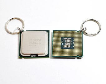 CPU Processor Keychain - Intel Core 2 Duo - Graduation, Students, Computer Chip, Key, Ring, Keychain, Stocking Stuffer