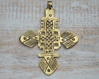 Large Ethiopian Brass Coptic Cross Pendant