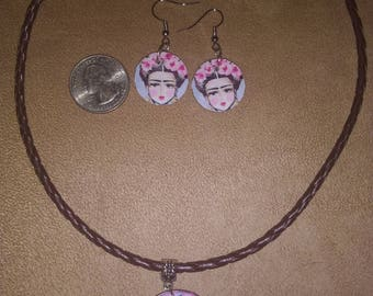 Frida Kahlo necklace and earrings set