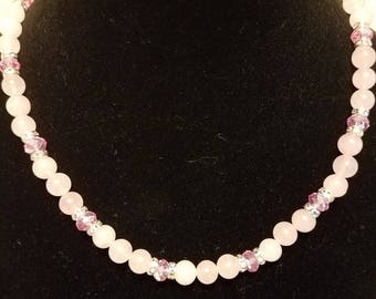 Rose Quartz necklace earring and bracelet set