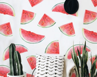 Removable wallpaper - Watermelon Wallpaper - Peel and stick wallpaper - Watercolor wallpaper - Self adhesive wallpaper - Tropical wallpaper