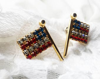 Vintage American Flag Glass Rhinestone Earrings - 1980s - Excellent Condition  - Red White Blue - Forth of July - Special Occasion - Vintage