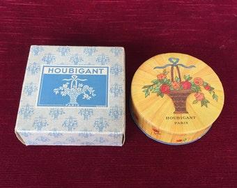 ancienne boite à poudre parfumerie Française Houbigant, old French perfume powder box,vecchia scatola di polvere di profumo francese