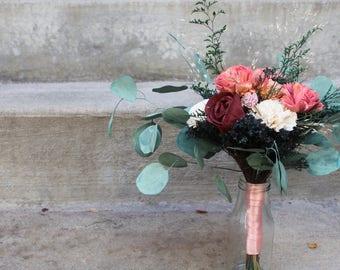 Bridal Bouquet, Sola Flower Bouquet, Natural Bridal Bouquet, Romantic Bouquet, Sola Flowers, Bouquet with Eucalyptus, Unique Sola Bouquet