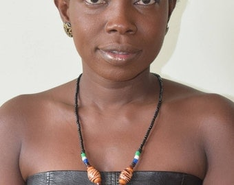 Beaded necklace with African pendant