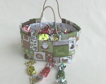 Basket - Basket chocolate candy Christmas gift basket handles - decorative Center table - gift Christmas handmade men women