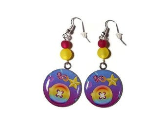 Earrings dangle cabochon button/star pattern color gradient purple-pink-yellow/Pearl polaris/gift