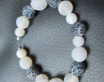 pretty 17 wire black and white agate beads 10-8 mm and 6 mm