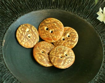 Set of 5 buttons orange brown porcelain patterns in low relief