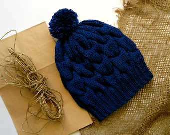 Knitted hat woman, Cabled wool hat, Wool hat, Blue knit hat, cable knit hat, Cap wool, Handknit hat, Woman braided hat