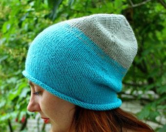 Autumn beanie hat,  Blue slouchy beanie, Blue Knit Slouchy Hat, Slouch beanie, Gradient hat, Warm hat handmade, Slouch hat, Wool Beanie