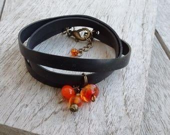 Charm bracelet in inner tube recycled and orange tassels - MULTISTRAND - Charm Bracelet - vegan leather strap Bracelet