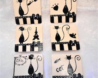 "Set of 6 coasters ""The chic Parisian cat"""