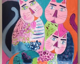 Table colorful cats - painting modern abstract canvas 55x46cm cats