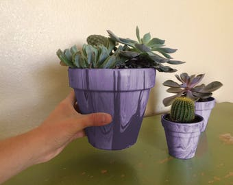 Hand-Painted Lavender Marbled Terracotta Pots *Does Not Include Plants