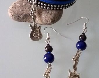 Blue/black guitar earrings + bracelet