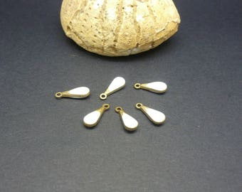 10 charms enameled drop white 11 * 4mm brass (PHBE01)
