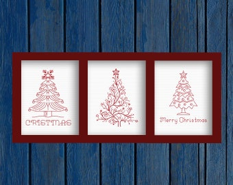 Christmas trees Set 3 in 1 - Merry Christmas - cross stitch pattern PDF