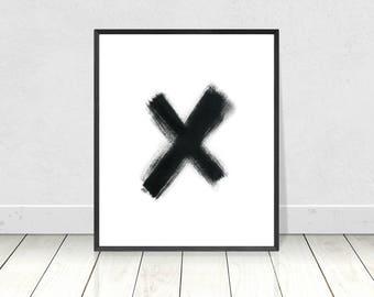 X print, Printable art, kiss wall decor, black and white, love print, typography poster, Scandinavian style, minimalist art print, wall art