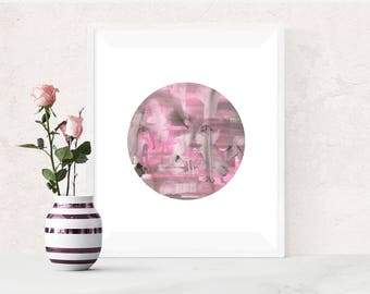 Pink Grey Abstract Painting, Pink Circle, Printable Art, Pink Watercolor Print, Pink and Grey, Abstract Watercolour Print, Modern Wall Art
