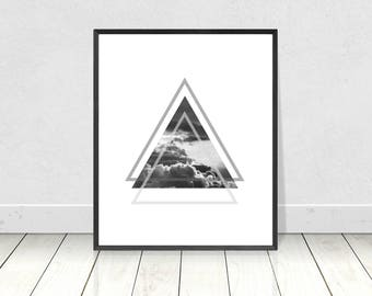 Cloud Art Print, Scandinavian Print, PRINTABLE Art,Minimalist Art,Triangles Print,Black White,Scandinavian Poster,Home Decor,Wall Art,Clouds