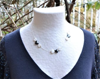 Silver plated necklace, Hematite and white mother of Pearl hearts / stone of harmony / Valentine / love / engagement