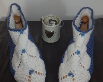 Short socks, blue and white