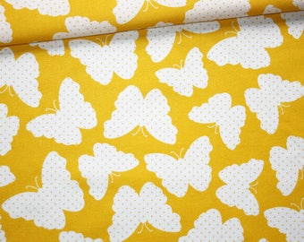 Butterflies, 100% cotton fabric printed 50 x 160 cm, white bow with polka dots on yellow background