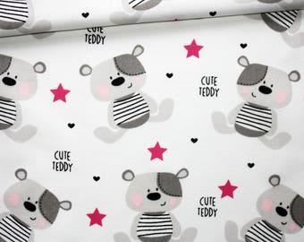 Tissu ours, étoiles, 100% coton imprimé 50 x 160 cm, motif ourses gris sur fond blanc
