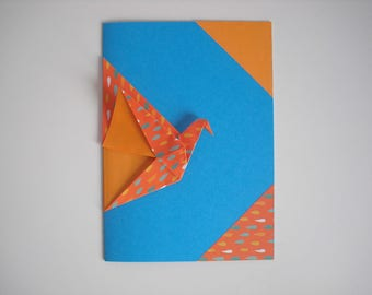 Card crane origami blue/orange all occasions