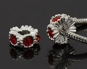 2 Middle East with 13 mm Siam rhinestone alloy beads