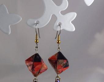 Cube paper origami earrings Japanese swarovski crystal