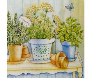 Set of 3 napkins PLA038 Pots of herbs
