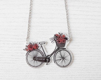 Flower Bike Necklace