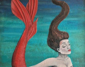 The Mermaid Original Jenna Brown Acrylic Painting 24x36''