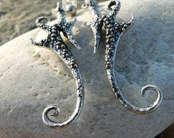 Earrings tribal and figurative Alchimy antique silver SEAHORSE