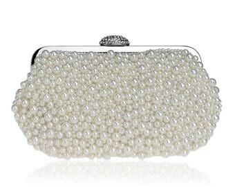 White Clutch, Pearl Clutch, Wedding Clutch, Bridal Clutch, Bridesmaid Clutch, Party Clutch, Birthday Gift, Evening Bag, Pearl Bag