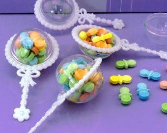 48 Plastic Baby Rattle Favor Holders - Set of 48