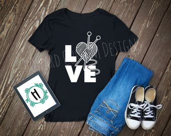 Knitting Love, Knitting Love Shirt, Knitting Love Decal, Knitting Needles