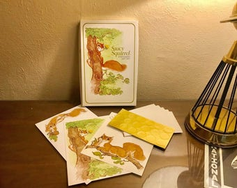 Vintage 1970s Current Saucy Squirrel Complete Stationery Set w/ Notecards, Seals, Envelopes