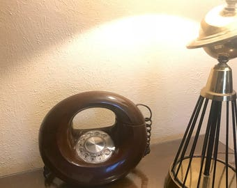 Phenom 1970s Sculptura Vintage Retro Brown Rotary Dial Phone Western Electric
