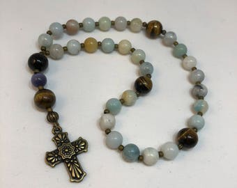 Protestant Prayer Beads - FREE gift chaplet with purchase - Anglican / Christian Prayer Beads / Methodist / Tierracast cross / Amazonite
